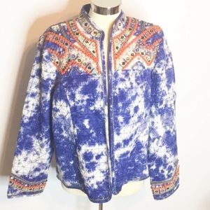 Chico's tie dye embroidered sequin boho jacket